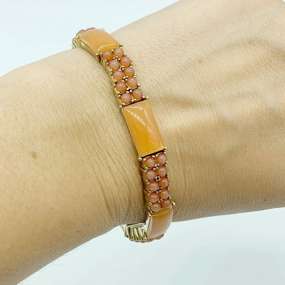 Orange Coral  Stone & Gold MONET bracelet